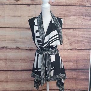 Calvin Klein asymmetrical with wrap sash blouse